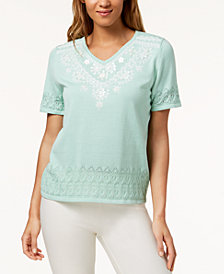 Alfred Dunner Petite Roman Holiday Embellished Short-Sleeve Sweater