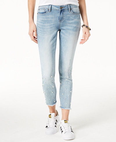 Blue Desire Juniors' Cropped Faux-Pearl Skinny Jeans