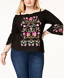 I.N.C. Plus Size Embroidered Off-The-Shoulder Top, Created for Macy's