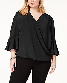 I.N.C. Plus Size Bell-Sleeve High-Low Blouse, Created for Macy's