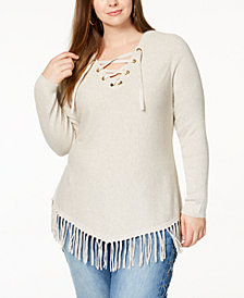 I.N.C. Plus Size Lace-Up Fringe Tunic Sweater, Created for Macy's