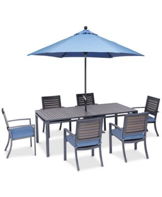 """Harlough II 7-Pc. Outdoor Dining Set (84"""" x 42"""" Dining Table and 6 Dining Chairs) with Sunbrella® Cushions, Created for Macy's"""