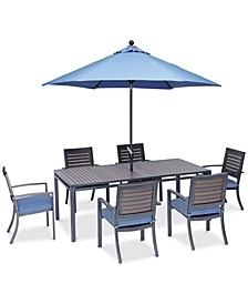 "Harlough II 7-Pc. Outdoor Dining Set (84"" x 42"" Dining Table and 6 Dining Chairs) with Sunbrella® Cushions, Created for Macy's"