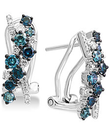 EFFY® Shades of Bleu  Diamond Drop Earrings (1 ct. t.w.) in 14k White Gold