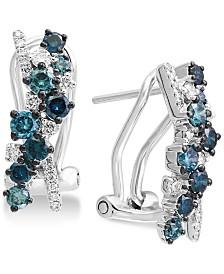 EFFY® Shades of Bleu  Diamond Drop Earrings (1 ct. t.w.) in 14k White Gold