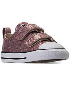 Converse Toddler Girls' Chuck Taylor Ox Glitter Stay-Put Closure Strap Casual Sneakers from Finish Line