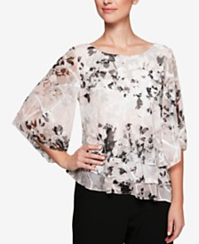 Alex Evenings Petite Printed Tiered Chiffon Top