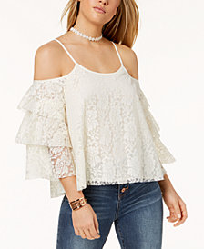 The Edit By Seventeen Juniors' Lace Cold-Shoulder Top, Created for Macy's