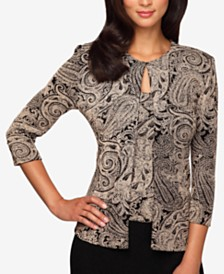 Alex Evenings Plus Size Glitter-Print Jacket & Top Set