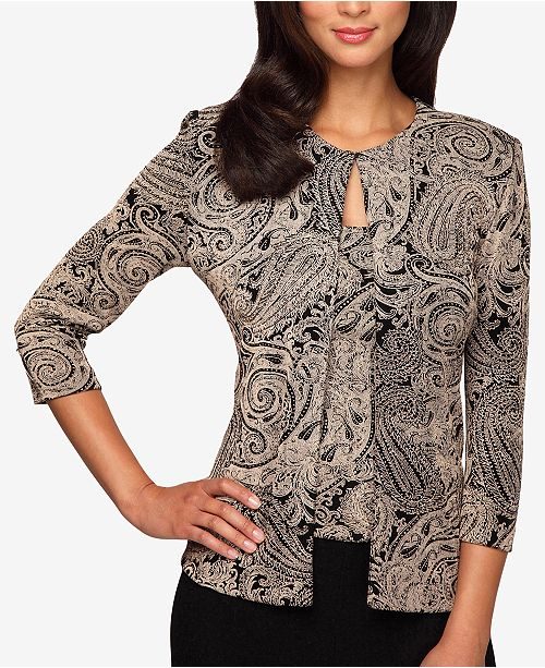 5e6c33d2395 Alex Evenings Plus Size Glitter-Print Jacket   Top Set   Reviews ...