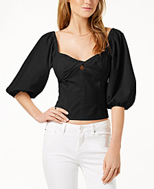 1.STATE Cropped Puffed-Sleeve Top