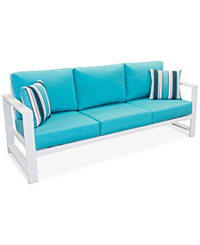 CLOSEOUT! Aruba Blue Aluminum Outdoor Sofa with Sunbrella® Cushion, Created for Macy's