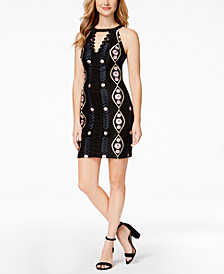 GUESS Embroidered-Mesh Halter Dress
