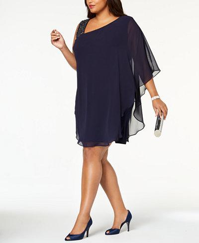 Xscape Plus Size Embellished One-Shoulder Dress