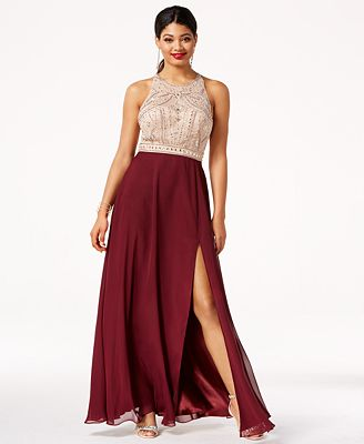 Say Yes To The Prom Juniors Jeweled Contrast Side Slit Gown