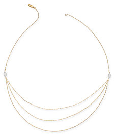"Multi-Layer Chain 18"" Statement Necklace in 14k Gold & White Gold"
