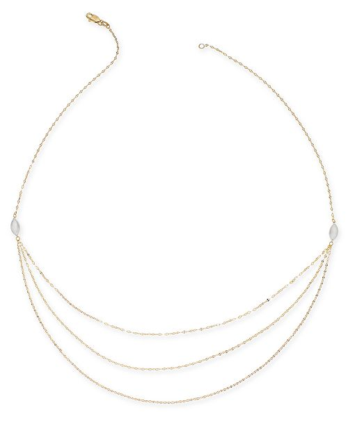 "Macy's Multi-Layer Chain 18"" Statement Necklace in 14k Gold & White Gold"