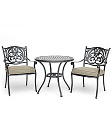 "Chateau Outdoor Aluminum 3-Pc. Dining Set (32"" Round Bistro Table & 2 Dining Chairs) with Sunbrella® Cushions, Created for Macy's"