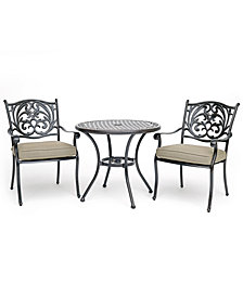 "Chateau Outdoor Aluminum 3-Pc. Dining Set (32"" Round Cafe Table & 2 Dining Chairs) with Sunbrella® Cushions, Created For Macy's"
