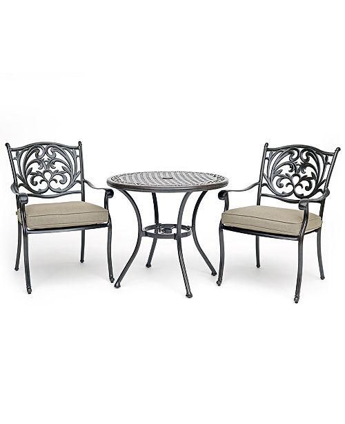 Peachy Chateau Outdoor Aluminum 3 Pc Dining Set 32 Round Bistro Table 2 Dining Chairs With Sunbrella Cushions Created For Macys Andrewgaddart Wooden Chair Designs For Living Room Andrewgaddartcom