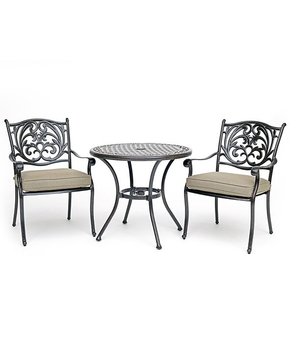 """Furniture Chateau Outdoor Aluminum 3-Pc. Dining Set (32"""" Round Bistro Table & 2 Dining Chairs) with Sunbrella® Cushions, Created for Macy's"""