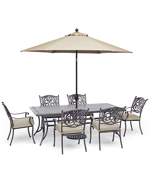 """Furniture Chateau Outdoor Aluminum 7-Pc. Dining Set (84"""" X 42"""" Dining Table & 6 Dining Chairs) with Sunbrella® Cushions, Created for Macy's"""