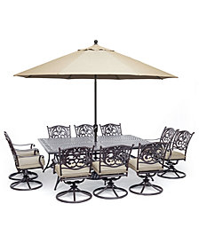 "Chateau Outdoor Aluminum 11-Pc. Dining Set (84"" X 60"" Dining Table & 10 Swivel Rockers) with Sunbrella® Cushions, Created For Macy's"