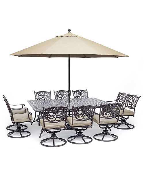 "Furniture Chateau Outdoor Aluminum 11-Pc. Dining Set (84"" X 60"" Dining Table & 10 Swivel Rockers) with Sunbrella® Cushions, Created For Macy's"