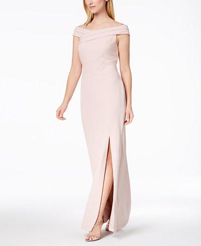 Calvin Klein Off-The-Shoulder Slit Gown