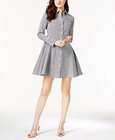 I.N.C. Long-Sleeve Pinstripe Shirtdress, Created for Macy's