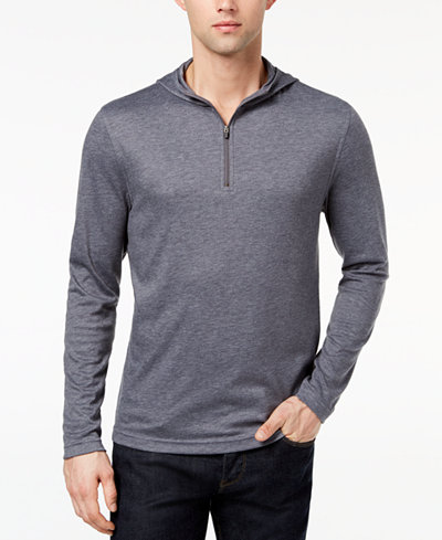 Alfani Men's Quarter-Zip Stretch Hooded T-Shirt, Created for Macy's