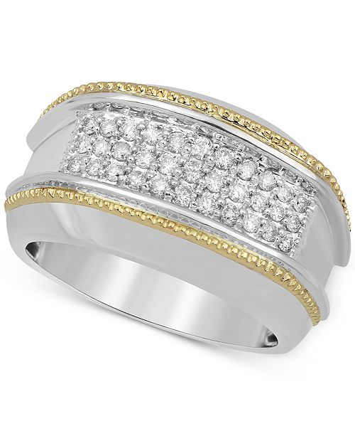 Macy's Men's Diamond Two-Tone Cluster Ring (1/2 ct. t.w.) in 10k Gold & White Gold