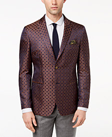 Tallia Orange Men's Modern-Fit Navy/Gold Medallion Dinner Jacket