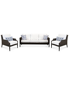 CLOSEOUT! Fiji Aluminum Outdoor 3-Pc. Seating Set (1 Sofa & 2 Accent Club Chairs) with Sunbrella® Cushions, Created for Macy's