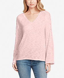 Jessica Simpson Juniors' Tameka Lace-Trimmed Flare-Sleeved Top