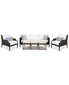 Fiji Aluminum Outdoor 6-Pc. Seating Set (1 Sofa,  2 Accent Club Chairs & 3 End Tables) with Sunbrella® Cushions, Created for Macy's