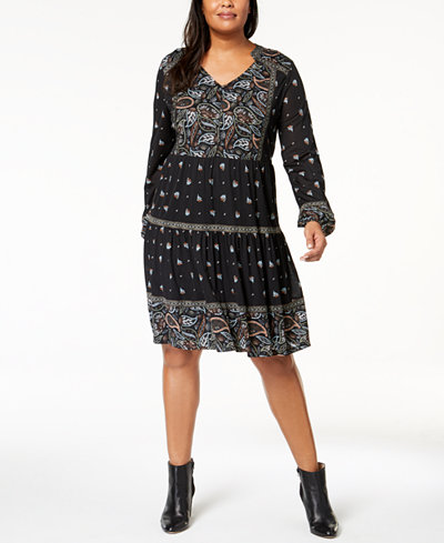 Style Co Plus Size Printed Peasant Dress Created For Macys