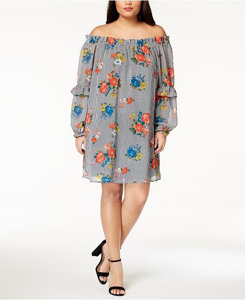 bbcf6b1ad78 Eyeshadow Trendy Plus Size Printed Off-The-Shoulder Dress - Dresses ...
