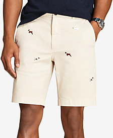 "Brooks Brothers Men's Red Fleece Dog-Embroidered Twill 9"" Shorts"