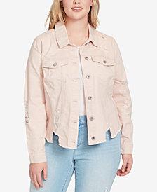 Jessica Simpson Trendy Plus Size Cotton Ripped Denim Jacket