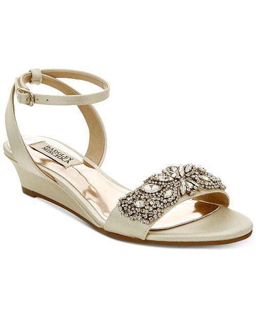 Badgley Mischka Hatch Wedge Evening Sandals Women's Shoes ZB4DBXC