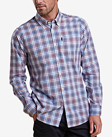 Barbour Men's Leo Medium Pink Plaid Shirt