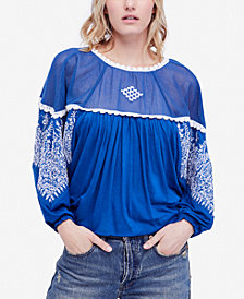Free People Carly Embroidered Contrast Top