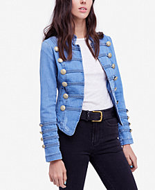 Free People Embellished Denim Jacket