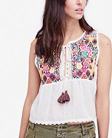 Free People Lohri Embroidered Tassel Top