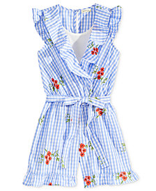 Monteau Embroidered Gingham Romper, Big Girls