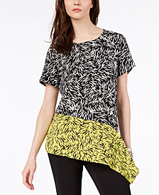 Alfani Printed Asymmetrical Draped Top, Created For Macy's