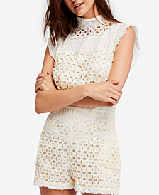 Free People Victoria Cotton Lace-Trim Romper