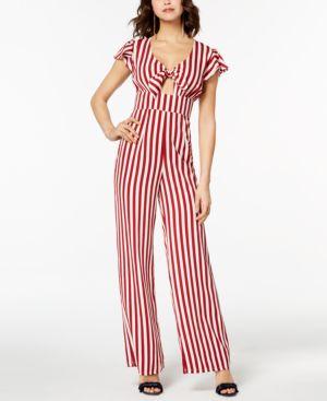 Love, Fire Juniors' Striped Knot-Front Jumpsuit