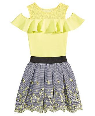 Beautees 2-Pc. Embroidered Bodysuit & Eyelet Skirt Set, Big Girls
